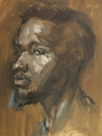 Sideways black man Oils