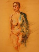 naked woman pastel
