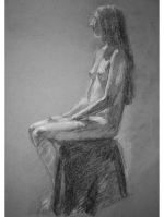 seated woman graphite study