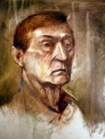 elderly man sideways study oil