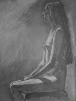 nude woman seated pencil