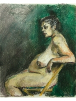 woman seated against green background pastel