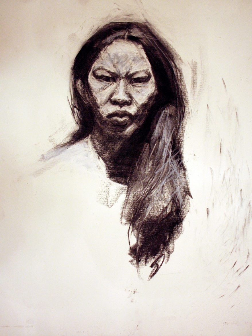 asian woman face study charcoal