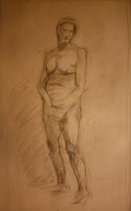 full body nude woman sketch