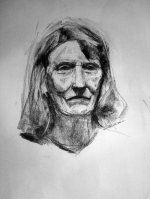 Woman face portrait in charcoal
