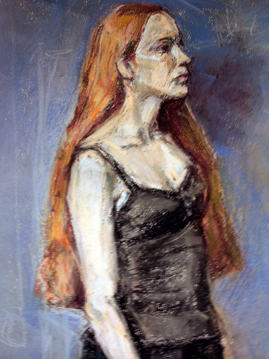 young woman in black pastel closeup