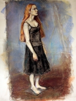 young woman in black pastels