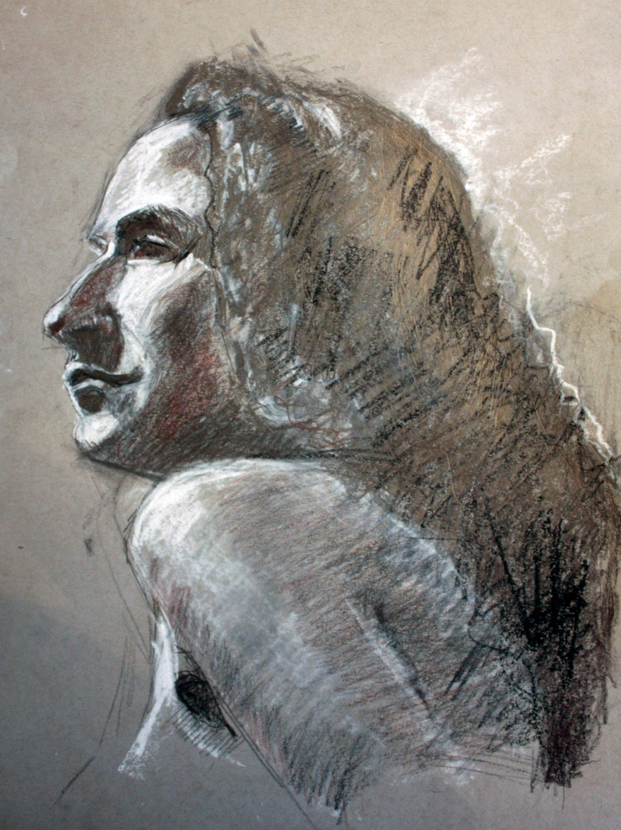 woman profile study graphite