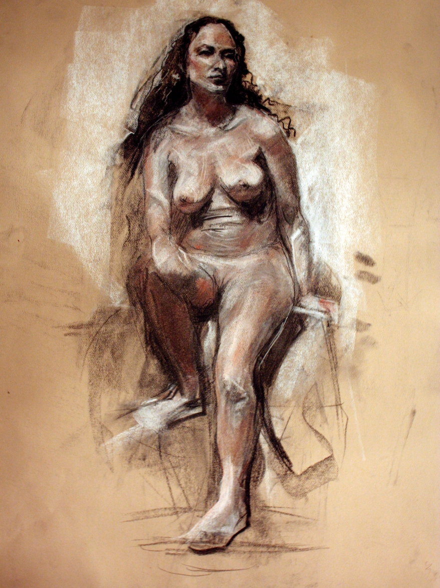 woman seated nude pastel