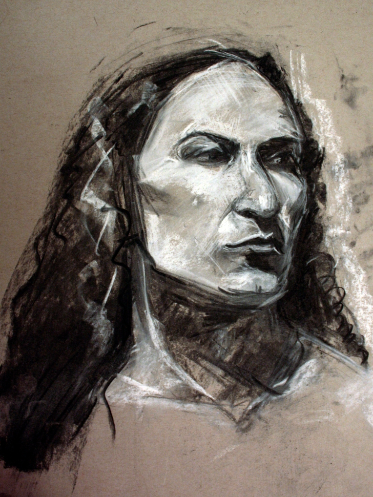 Woman sideways pastel black and white