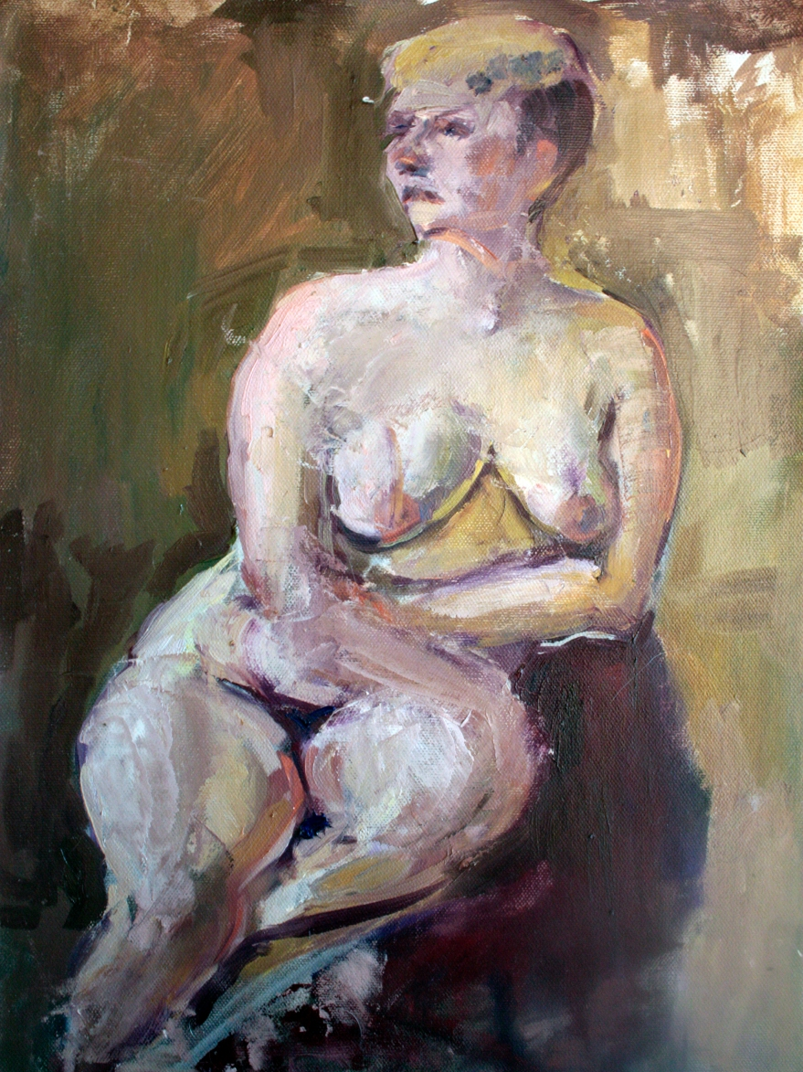 seated nude woman in oils